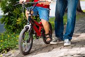 picture of riding-crop  - Legs of father and his son on a bicycle - JPG