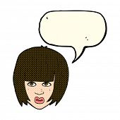 image of annoyance  - cartoon annoyed girl with big hair with speech bubble - JPG