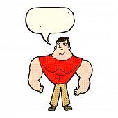 stock photo of body builder  - cartoon body builder with speech bubble - JPG