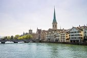 stock photo of zurich  - Zurich city center and Limmat quay in summer with city hall clock tower spire - JPG