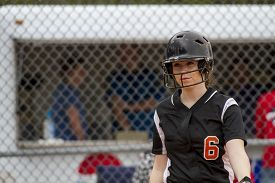 picture of fastpitch  - A female fastpitch softball player in the batters box - JPG