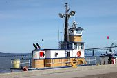 foto of workhorses  - Tugboat with a utility fuel barge in the port of Astoria OR - JPG