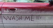 stock photo of car wash  - a dirty car with the words  - JPG