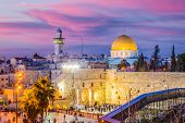 Skyline of the Old City at the Western Wall and Temple Mount in Jerusalem, Israel. poster