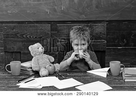 School Break Hungry Kid Biting