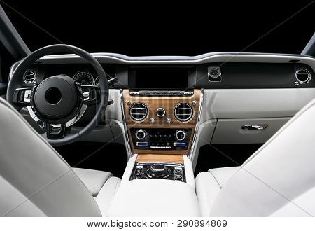 poster of Modern Luxury Car White Leather Interior With Natural Wood Panel. Part Of Leather Car Seat Details W