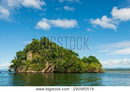 poster of Travel Vacation Tropical Destination. Small Tropical Island Landscape. Travel Vacations Destination.