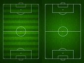 stock photo of offside  - Soccer or football field or pitch top view with proper markings and proportions according standards - JPG