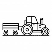 Tractor With Trail Icon. Outline Tractor With Trail Vector Icon For Web Design Isolated On White Bac poster