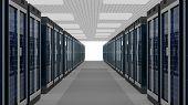Server Racks In Server Room Cloud Data Center. Datacenter Hardware Cluster. 3d Render. Backup, Hosti poster