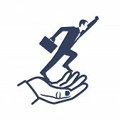 Silhouette Businessman Flying Out Of Hand Goes Up. Give Freedom, Opportunity. Business Concept. Succ poster