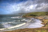 Challaborough South Devon England Uk Popular Surfing Beach Near Burgh Island And Bigbury-on-sea On T poster
