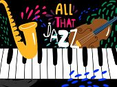 Jazz Piano Poster. All That Jazz Music Festival Vector Background. Illustration Of Jazz Live, Musica poster