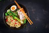 Miso Ramen Asian Noodles With Egg, Pork And Pak Choi Cabbage In Bowl On Dark Background. Japanese Cu poster