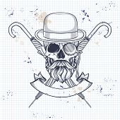 Sketch Of British Skull With Hat Bowler, Beard And Mustaches, Rimless Eyeglasses, Umbrella And Briti poster