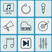 Multimedia Icons Set With Mike, Fast Forward Song, Dj Disc And Other Note Elements. Isolated  Illust poster