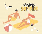 Postcard Template With Couple Dressed In Swimwear Sitting On Beach And Sunbathing And Enjoy Summer S poster