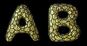 Realistic 3D letter set A, B made of gold shining metal. Collection of gold shining metallic with bl poster
