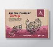 Fine Quality Organic Turkey. Vector Meat Packaging Label Design On A Craft Cardboard Box Container.  poster