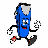Electrical Hair Clipper Mascot Running - A Vector Cartoon Illustration Of A Barber Shop Electrical H poster