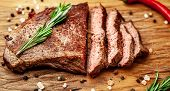 Ready To Eat New York Black Angus Steak With Ingredients On A Cutting Board. Ready Meal For Dinner O poster