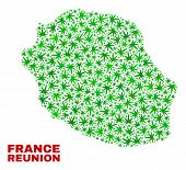 Vector Marijuana Reunion Island Map Collage. Template With Green Weed Leaves For Weed Legalize Campa poster