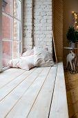 Bright Studio Interior With Big Window, High Ceiling, Wooden Floor.loft Style Bedroom Interior Desig poster