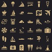 Water Creation Icons Set. Simple Style Of 36 Water Creation Vector Icons For Web For Any Design poster
