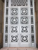 Entrance Doors Of Ministry Of Foreign Affairs With Stars And Soviet Symbols On Them poster
