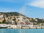 Historic Port Area Of Nice. Sailing Ships In The Port Of Nice, France poster