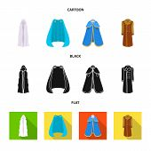 Vector Illustration Of Material And Clothing Sign. Collection Of Material And Garment Stock Symbol F poster