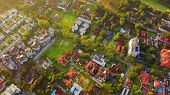 Aerial View Of Residential Neighborhood. Urban Housing Development From Above. Top View. Real Estate poster