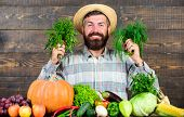 Farmer With Homegrown Vegetables Harvest. Excellent Quality Harvest. Man With Beard Proud Of His Har poster