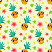 Cute Summer Pineapple Seamless Pattern. Pineapple Wear Sunglasses. Summer And Tropical Concept. poster