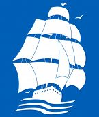 image of sailing-ship  - silhouette picture of sailing ship - JPG