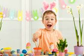 Surprised Little Child Boy With Easter Bunny Ears Painting Easter Eggs At Home. Adorable Child Prepa poster
