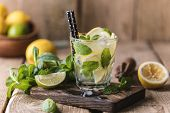 Mojito Cocktail With Lime, Lemon And Mint In A Glass On A Dark Rustic Background. Fresh Summer Cockt poster