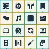 Multimedia Icons Set With Presentation, Bookmark, Web Cam And Other Headphone Elements. Isolated  Il poster