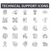 Technical Support Line Icons For Web And Mobile Design. Editable Stroke Signs. Technical Support  Ou poster