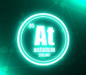 Astatum Chemical Element. Sign With Atomic Number And Atomic Weight. Chemical Element Of Periodic Ta poster