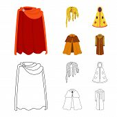 Vector Illustration Of Material And Clothing Symbol. Set Of Material And Garment Stock Vector Illust poster