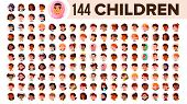 Children Avatar Set Vector. Child Girl, Guy. Multi Racial. Face Emotions. Multinational User People  poster