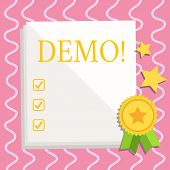 Text Sign Showing Demo. Conceptual Photo Trial Beta Version Free Test Sample Preview Of Something Pr poster