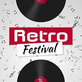 Banner For The Retro Music Festival. Musical Poster Template For Your Design. Music Elements Design  poster