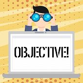 Handwriting Text Objective. Concept Meaning Goal Planned To Be Achieved Desired Target Company Missi poster