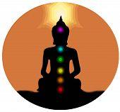 Healing Chakras Buddha Mindfulness Spiritual Meditation Mantra Illustration poster
