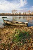 River Boat Nature Landscape.nature Landscape. Clouds And River Landscape. Outdoor Traveling Landscap poster