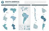 Vector Map Set.  High Detailed 11 Map Of South America Countries With Administrative Division And Ci poster