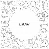 Vector Library And Online Library Pattern. Library And Online Library Seamless Background. Vector Il poster