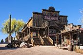 stock photo of gunfighter  - The old saloon at the Goldfield ghost town in Arizona - JPG